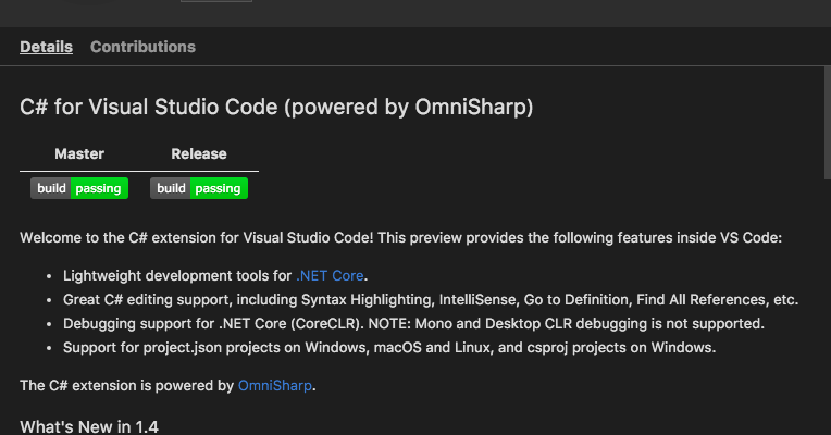C# Visual Studio Code extension