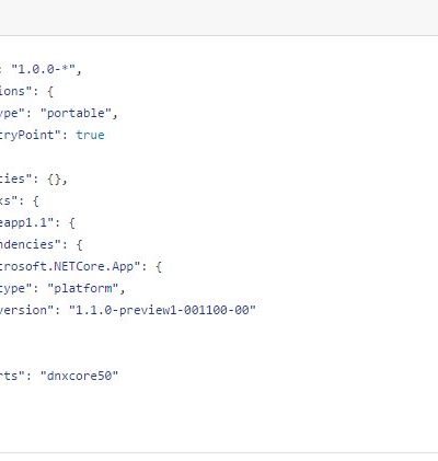 .NET Core version 1.1 project.json