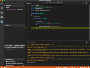 Visual Studio Code Debugger Running
