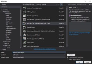 Visual Studio New MVC Application