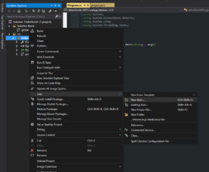 Visual Studio Add New File Menu