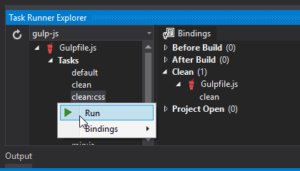 task runner explorer - run option