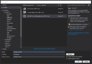 Visual Studio - New Project Dialogue