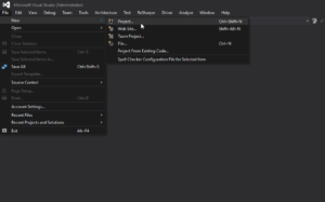 Visual Studio - New Project Menu Location