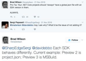Brad Wilson tweet on global.json
