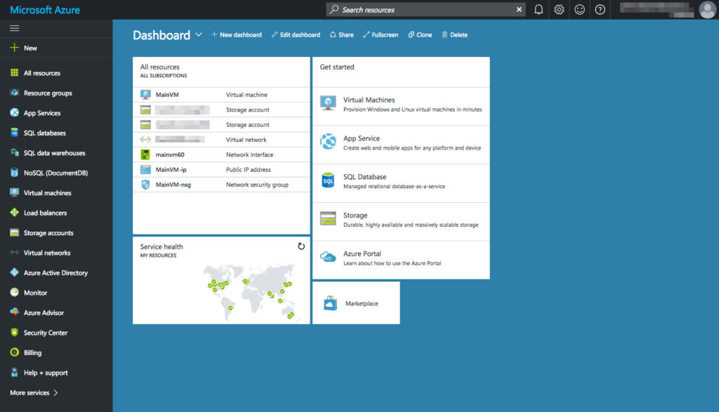 Azure - Dashboard with VMs