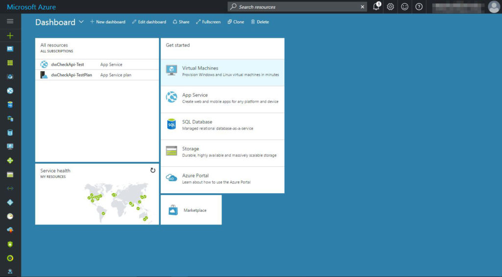 Azure Portal - new service and plan