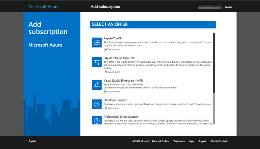 Azure - Subscriptions List