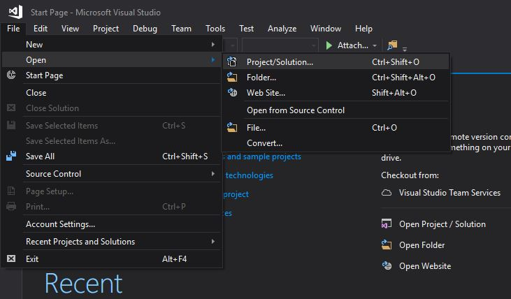 VS 2017 Migrate - Open Project