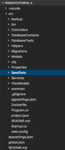 VS Code webApiTutorial4 with SeedData directory