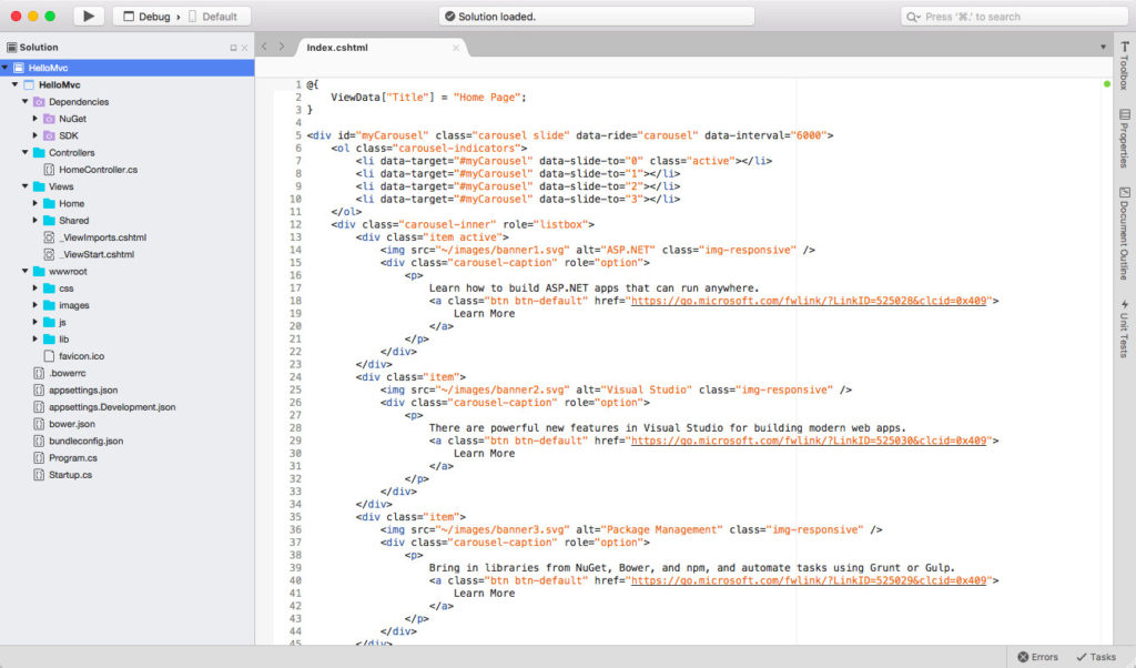 Visual Studio for Mac - Solution open