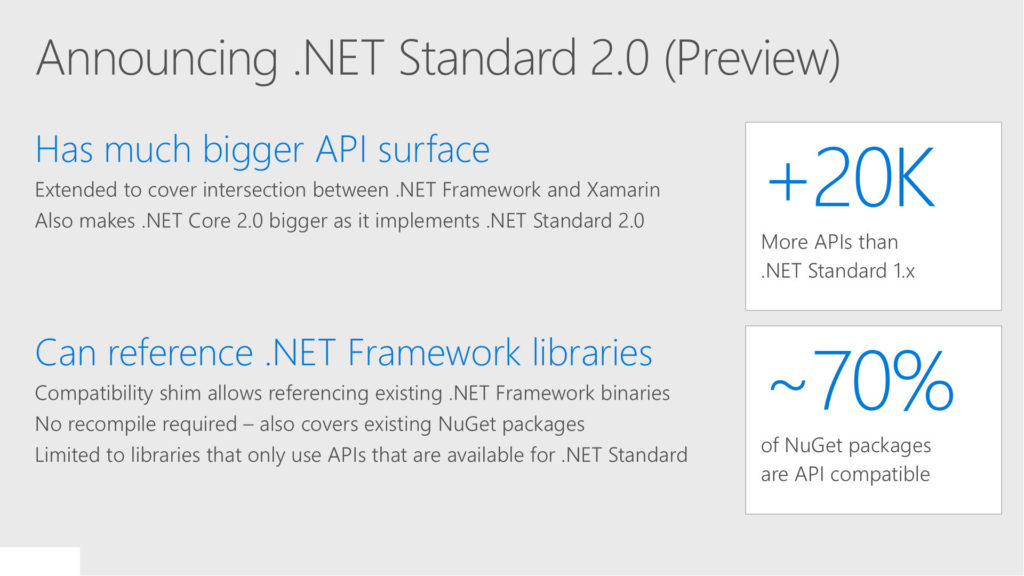 NET Standard 2.0 preview announce slide