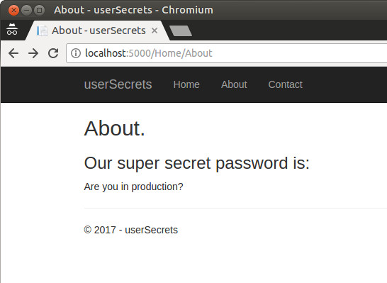 Consuming UserSecrets in About - not found