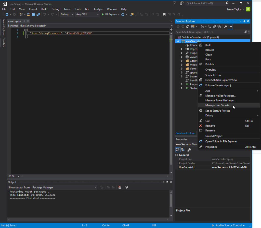 user secrets in Visual studio